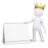 3d white man with a crown holding a desk calendar Stock Images