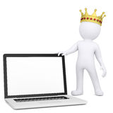 3d white man with a crown holding a laptop. Render on a white background Royalty Free Stock Photo