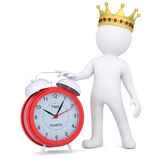 3d white man with crown holding a red alarm clock. 3d white man with a crown holding a red alarm clock.  render on a white background Royalty Free Stock Photography