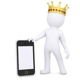 3d white man with a crown holding a smartphone. Render on a white background Stock Images