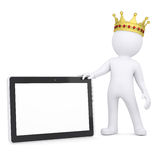 3d white man with a crown holding a tablet PC. Render on a white background Stock Photography