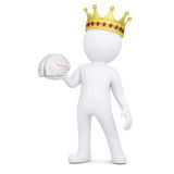 3d white man with a crown keeps the brain. Render on a white background Royalty Free Stock Photography
