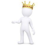 3d white man with a crown raised his hand. Render on a white background Royalty Free Stock Photos