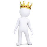 3d white man with a crown. Render on a white background Stock Images