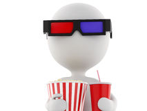 3d white man with 3d glasses, drink and popcorn,  white Royalty Free Stock Image