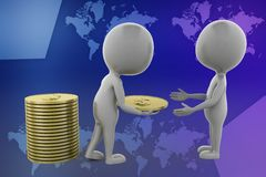 3d white man distributing coins illustration Royalty Free Stock Photography