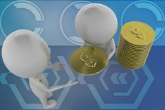 3d white man distributing coins illustration Royalty Free Stock Images