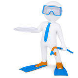 3d white man with flippers holds plate. Isolated render on a white background Royalty Free Stock Image
