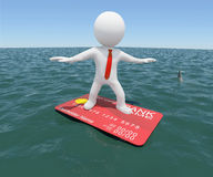3d man floating on credit card in the sea. 3d white man floating on a credit card in the sea. Against the background of the blue expanse of the sea and sky Stock Photo