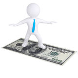 3d white man flying on the dollar bill. Isolated render on a white background Stock Image