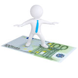 3d white man flying on the euro bill Royalty Free Stock Images