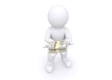 3d white man giving you money. Royalty Free Stock Images