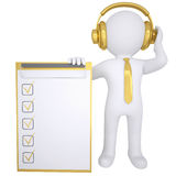 3d white man in gold headphones Stock Photo