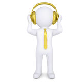 3d white man with the golden headphones. Isolated render on a white background Stock Image