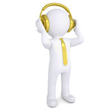 3d white man with the golden headphones. Isolated render on a white background Royalty Free Stock Photo