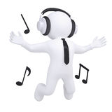 3d man with headphones in the jump Stock Photos