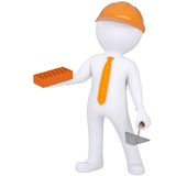 3d white man in helmet holding brick and trowel. Isolated render on a white background Royalty Free Stock Photos