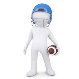 3d white man in helmet holding football ball. Isolated render on a white background Stock Photography