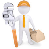 3d man in helmet with pipe wrench and tool box. 3d white man in a helmet with a pipe wrench and tool box. Isolated render on a white background Royalty Free Stock Images