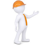 3d white man in helmet points hand. Render on a white background Royalty Free Stock Photo