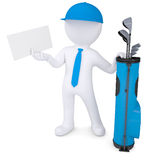 3d white man holding a cardboard card. 3d white man with a bag of golf clubs, holding a cardboard card. Isolated render on a white background Stock Photography