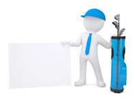 3d white man holding a cardboard card. 3d white man with a bag of golf clubs, holding a cardboard card. Isolated render on a white background Royalty Free Stock Photo