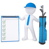 3d white man holding checklist. 3d white man with a bag of golf clubs, holding checklist. Isolated render on a white background Royalty Free Stock Image
