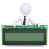 3d white man holding a digital display. Isolated render on a white background Stock Photos
