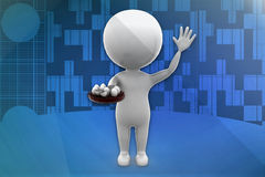 3d white man holding egg illustration Royalty Free Stock Photos