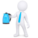 3d white man holding an electric kettle Royalty Free Stock Images