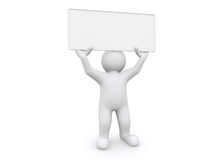 3d white man holding empty board on white background. Royalty Free Stock Images