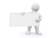 3d white man holding empty board on white background. Royalty Free Stock Photos