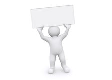 3d white man holding empty board on white background. Royalty Free Stock Photo