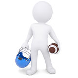 3d white man holding football ball and helmet. Isolated render on a white background Royalty Free Stock Images