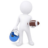 3d white man holding football ball and helmet Stock Photography