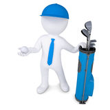 3d white man holding a golf ball. 3d white man with a bag of golf clubs, is holding a golf ball. Isolated render on a white background Stock Photos