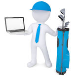 3d white man holding a laptop. 3d white man with a bag of golf clubs, holding a laptop. Isolated render on a white background Stock Photo