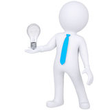 3d white man holding a light bulb. Isolated render on a white background Stock Photo