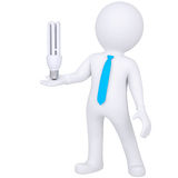 3d white man holding a light bulb. Isolated render on a white background Stock Photography
