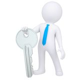3d white man holding metal key. 3d white man holding a metal key. Isolated render on a white background Royalty Free Stock Photography