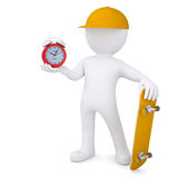 3d white man holding skateboard and alarm clock Stock Photography