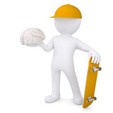 3d white man holding a skateboard and brain Stock Images