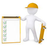 3d white man holding a skateboard and a checklist Royalty Free Stock Image