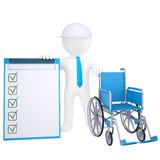 3d white man holding a wheelchair Royalty Free Stock Image