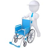 3d white man holding a wheelchair Stock Photo