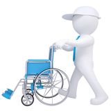 3d white man holding a wheelchair Royalty Free Stock Photo