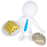 3d white man keeps on a platter of gold bullion. Isolated render on a white background Stock Photos
