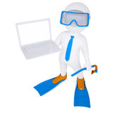 3d white man with laptop in flippers. 3d white man with a laptop in flippers. Isolated render on a white background Stock Image