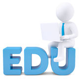 3d white man with laptop sitting on the word EDU. Isolated render on a white background Royalty Free Stock Photography