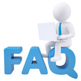 3d white man with laptop sitting on the word FAQ. Isolated render on a white background Royalty Free Stock Photos